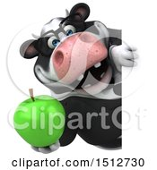 3d Business Holstein Cow Holding An Apple On A White Background