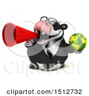 3d Business Holstein Cow Holding A Globe On A White Background