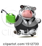3d Business Holstein Cow Holding A Gas Can On A White Background