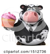 3d Business Holstein Cow Holding A Cupcake On A White Background