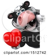 3d Business Holstein Cow Holding A Heart On A White Background
