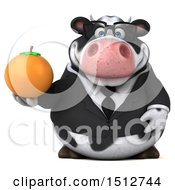 3d Business Holstein Cow Holding An Orange On A White Background