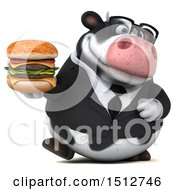 3d Business Holstein Cow Holding A Burger On A White Background