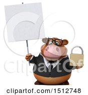 3d Brown Business Cow Holding A Padlock On A White Background