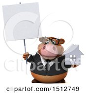 3d Brown Business Cow Holding A House On A White Background