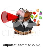 Clipart Of A 3d Brown Business Cow Holding Produce On A White Background Royalty Free Illustration