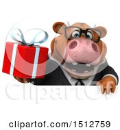 3d Brown Business Cow Holding A Gift On A White Background