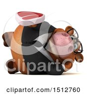 3d Brown Business Cow Holding A Steak On A White Background