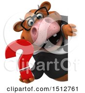 3d Brown Business Cow Holding A Question Mark On A White Background