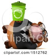3d Brown Business Cow Holding A Recycle Bin On A White Background