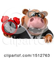 3d Brown Business Cow Holding An Alarm Clock On A White Background