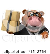 3d Brown Business Cow Holding Boxes On A White Background