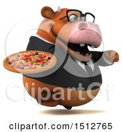 3d Brown Business Cow Holding A Pizza On A White Background
