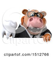 3d Brown Business Cow Holding A Tooth On A White Background