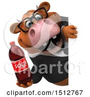 3d Brown Business Cow Holding A Soda On A White Background
