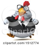3d Chubby White Business Chicken Running On A White Background