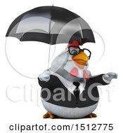 3d Chubby White Business Chicken Holding An Umbrella On A White Background