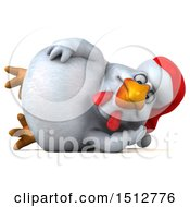 3d Chubby White Christmas Chicken Resting On A White Background