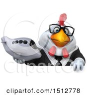 3d Chubby White Business Chicken Holding A Plane On A White Background