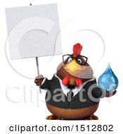 Clipart Of A 3d Chubby Brown Business Chicken Holding A Water Drop On A White Background Royalty Free Illustration