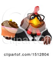 Clipart Of A 3d Chubby Brown Business Chicken Holding A Cupcake On A White Background Royalty Free Illustration