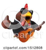 Clipart Of A 3d Chubby Brown Business Chicken Holding A Guitar On A White Background Royalty Free Illustration