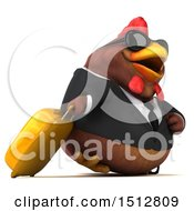 Clipart Of A 3d Chubby Brown Business Chicken Traveler On A White Background Royalty Free Illustration