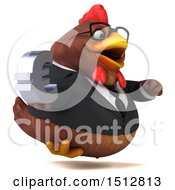 Clipart Of A 3d Chubby Brown Business Chicken Holding A Euro On A White Background Royalty Free Illustration