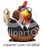 Clipart Of A 3d Chubby Brown Business Chicken Holding A Waffle Cone On A White Background Royalty Free Illustration