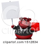 Clipart Of A 3d Red Business Bull Holding A Shopping Bag On A White Background Royalty Free Illustration