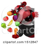 Clipart Of A 3d Red Business Bull Holding Produce On A White Background Royalty Free Illustration