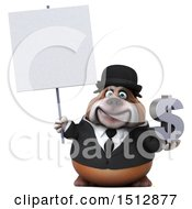 Clipart Of A 3d Gentleman Or Business Bulldog Holding A Dollar Sign On A White Background Royalty Free Illustration