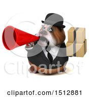 Clipart Of A 3d Gentleman Or Business Bulldog Holding Boxes On A White Background Royalty Free Illustration