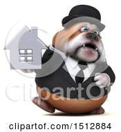 Clipart Of A 3d Gentleman Or Business Bulldog Holding A House On A White Background Royalty Free Illustration