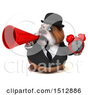 Clipart Of A 3d Gentleman Or Business Bulldog Holding A Clock On A White Background Royalty Free Illustration