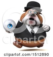 Clipart Of A 3d Gentleman Or Business Bulldog Holding An Eye On A White Background Royalty Free Illustration
