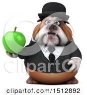 Clipart Of A 3d Gentleman Or Business Bulldog Holding An Apple On A White Background Royalty Free Illustration