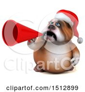 Clipart Of A 3d Christmas Bulldog Using A Megaphone On A White Background Royalty Free Illustration