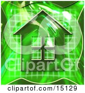 Green Home Icon Symbolizing Real Estate Or An Energy Efficient Home Clipart Illustration