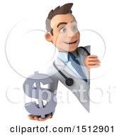 3d Young White Male Doctor Holding A Dollar Sign On A White Background