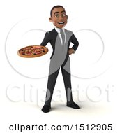 3d Young Black Business Man Holding A Pizza On A White Background