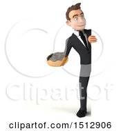 3d White Business Man Holding A Donut On A White Background