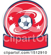 Poster, Art Print Of Soccer Ball Design With A Blank Banner