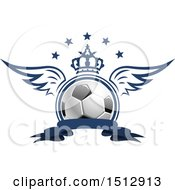Poster, Art Print Of Soccer Ball With A Crown Wings And Stars Over A Banner