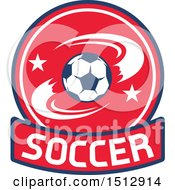 Poster, Art Print Of Soccer Ball Design With A Banner