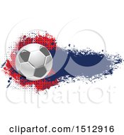 Poster, Art Print Of Soccer Ball And Grungy Flag Banner