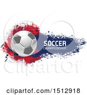 Soccer Ball And Grungy Flag Banner With Text