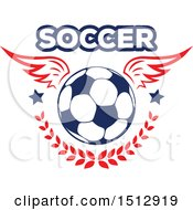 Winged Soccer Ball With Text A Laurel Branch And Stars