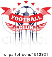 Soccer Ball With Stars Football Club Text And Wings