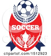 Soccer Ball Over A Trophy With Text
